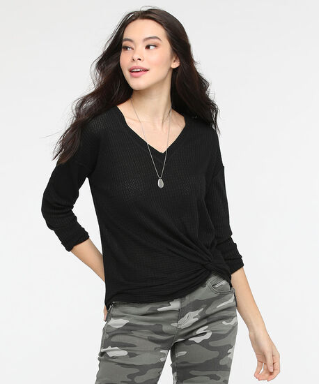 Knot Front Waffle Knit Top, Black, hi-res