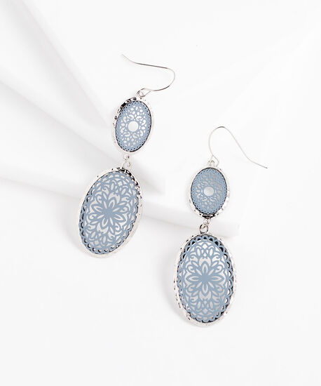 Blue Oval Mosaic Earrings, Silver/Blue, hi-res