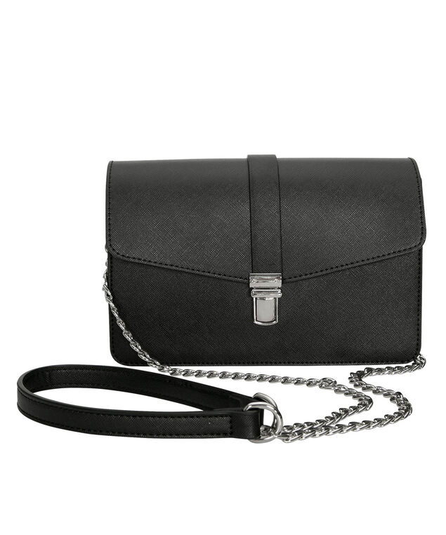 Saffiano Boxy Cross-Body Bag, Black/Nickel, hi-res
