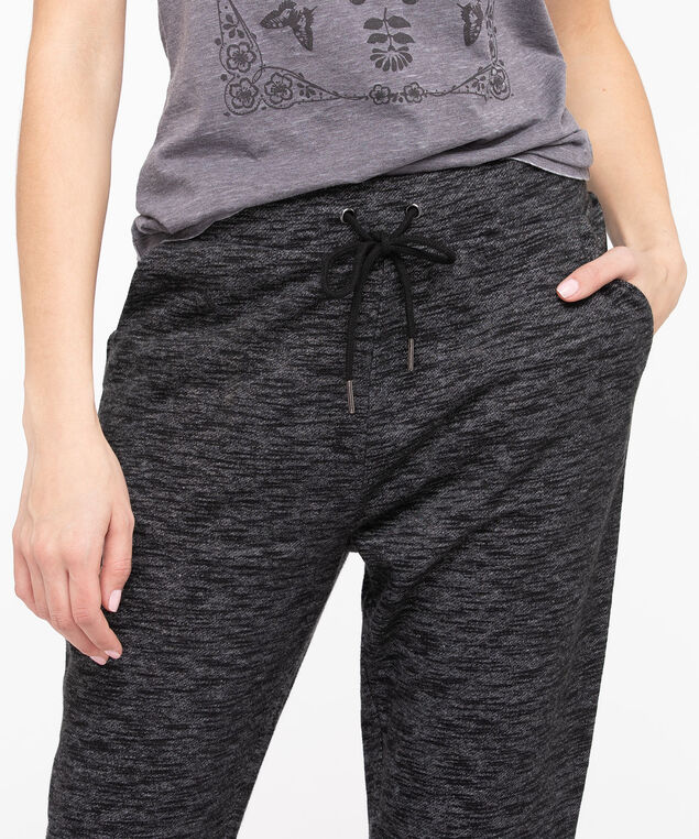 Terry Drawstring Waist Jogger, Black Mix