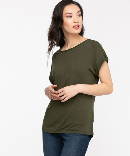 Extended Sleeve Woven Top, Capulet Olive, hi-res