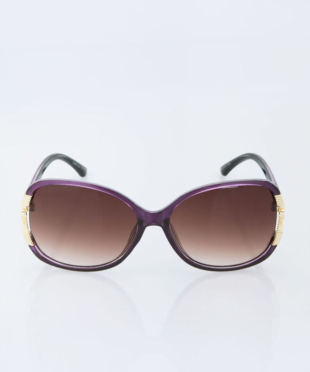 Flower Detail Square Sunglasses, Purple/Gold, hi-res