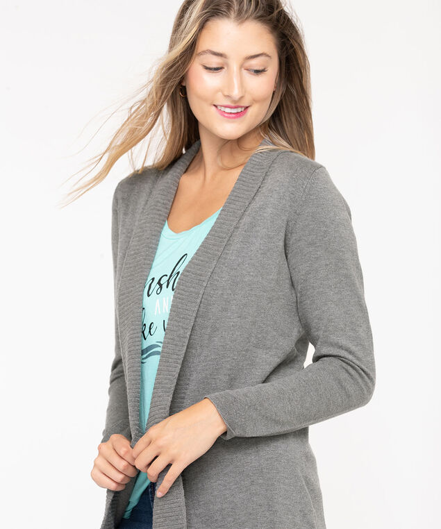 EcoVero™ Open Cardigan, Mid Heather Grey, hi-res