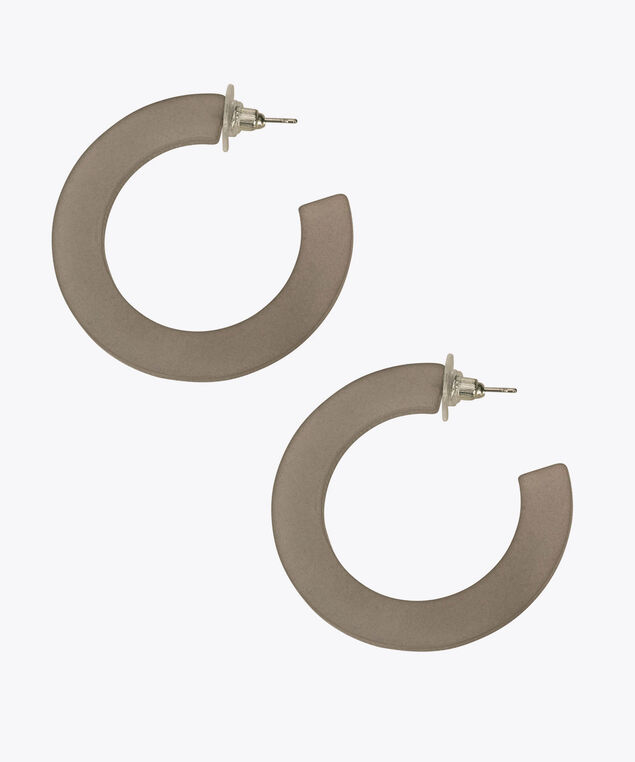 Resin Hoop Earring, Grey, hi-res