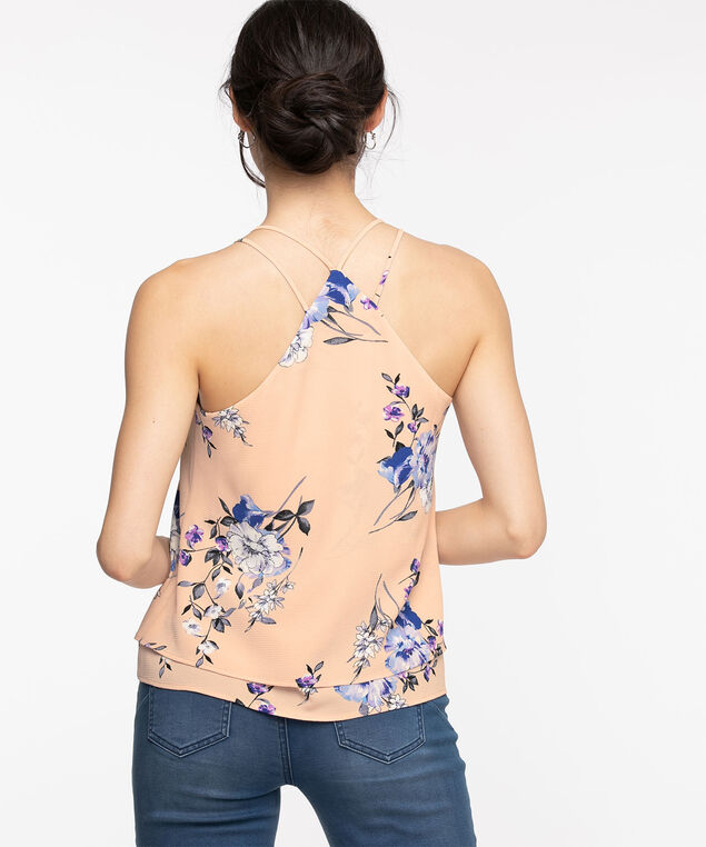 Eco-Friendly Strappy Layered Blouse, Pink/Blue Floral