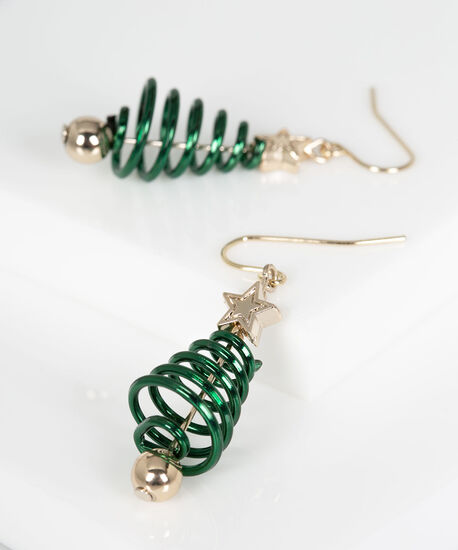 Spiral Christmas Tree Earring, Rhodium/Deep Green, hi-res