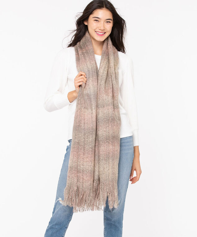 Softened Plaid Blanket Scarf, Grey/Misty Rose
