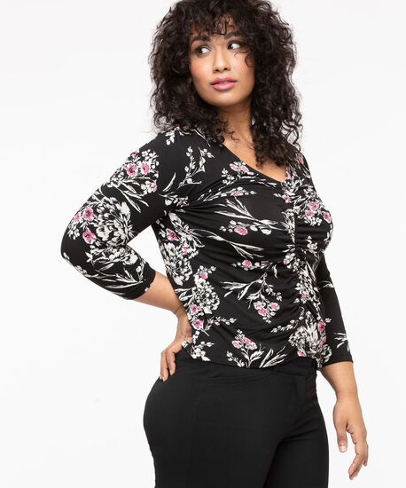 Ruched Front V-Neck Top, Black/Pearl/Mid Pink, hi-res