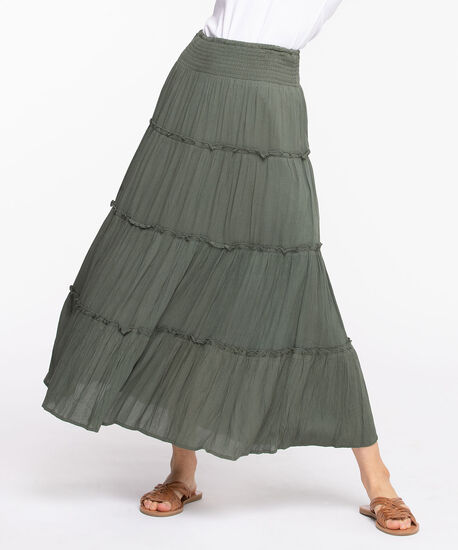 Smocked Waist Tiered Maxi Skirt, Spruce, hi-res