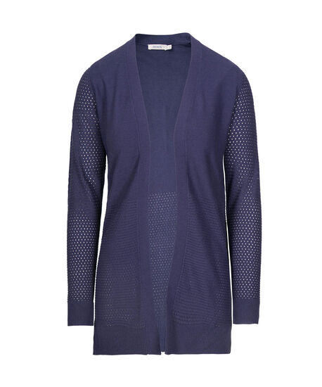 Fine Ribbed Open Cardigan, Indigo, hi-res