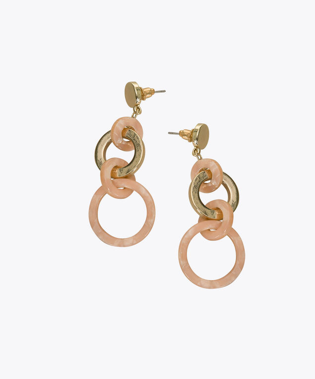 Interlocked Resin O-Ring Earring, Blush/Soft Gold, hi-res