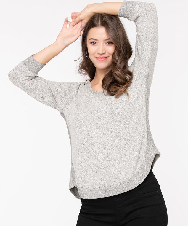 Ribbed Trim Lightweight Knit Pullover, Light Grey Mix, hi-res