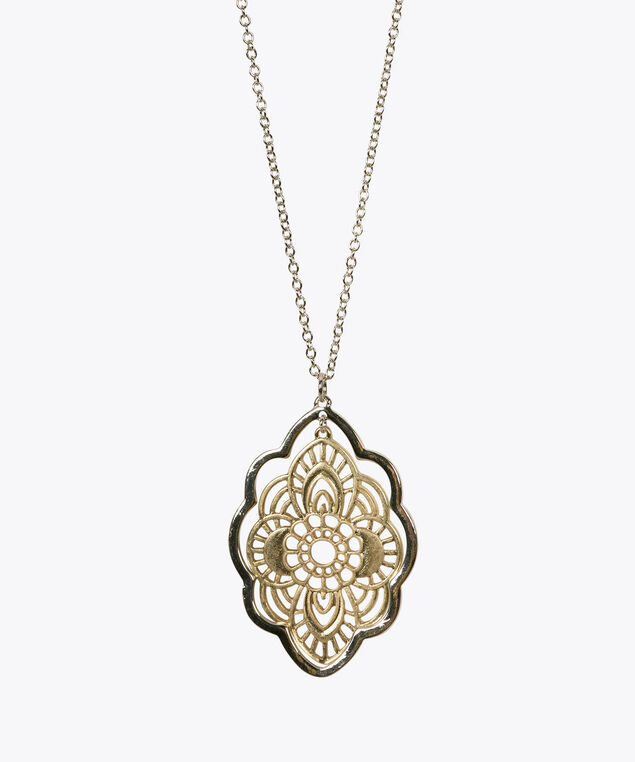 Mixed Metal Filigree Pendant Necklace, Antique Gold/Rhodium, hi-res