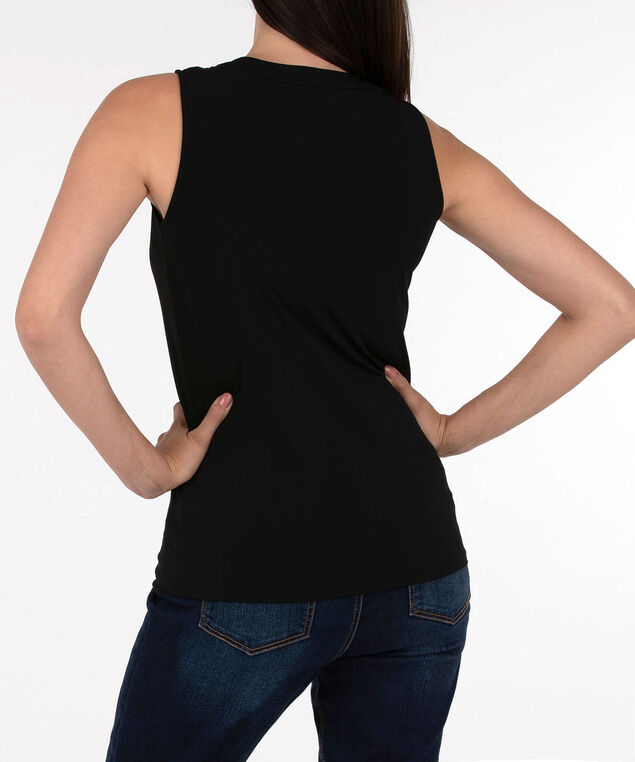 Sleeveless Button Front Henley Top, Black, hi-res