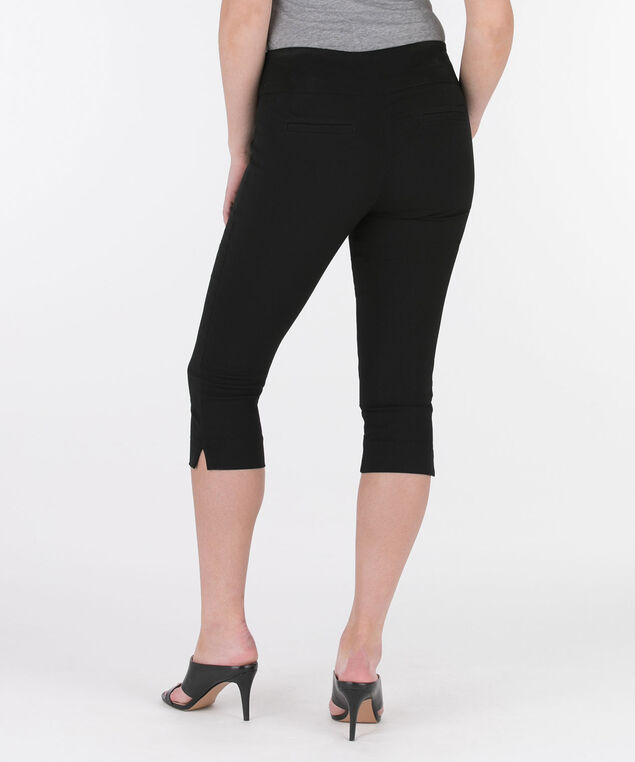 Microtwill Pull-On Capri, Black, hi-res