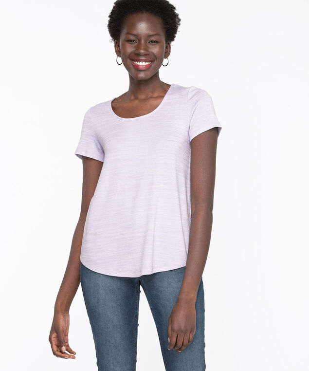 Scoop Neck Lightweight Knit Tee, Purple Ash