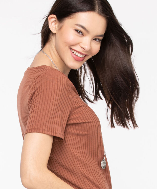 Ribbed Scoop Neck Tee, Terra Cotta