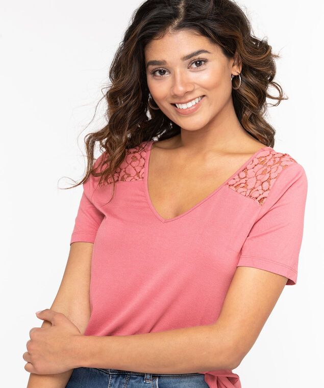 Lace Trim Double-V Tee, Misty Rose