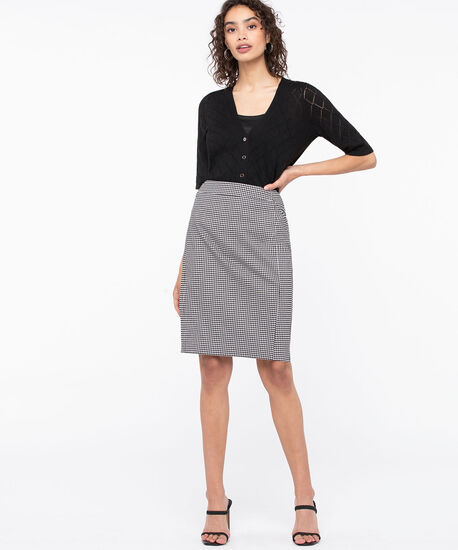 Gingham Check Pull on Pencil Skirt, True White/Black, hi-res