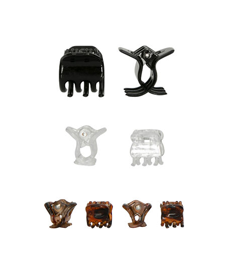 Micro Hair Clip Set, Black/Clear/Cognac, hi-res