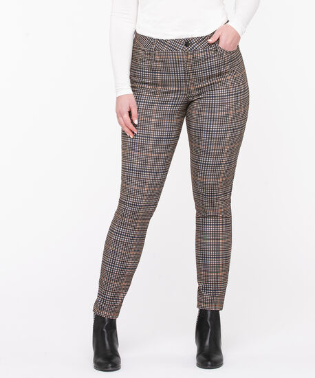 Plaid Ponte Button Front Skinny Leg, Camel Plaid, hi-res