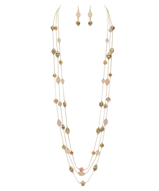 Stationed Bead Multi-Strand Necklace Set, Pastel Pink/Soft Gold, hi-res