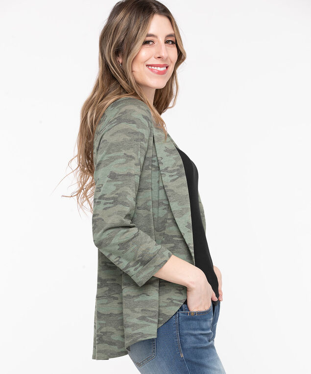 Terry Shawl Collar Cover Up, Olive Camo