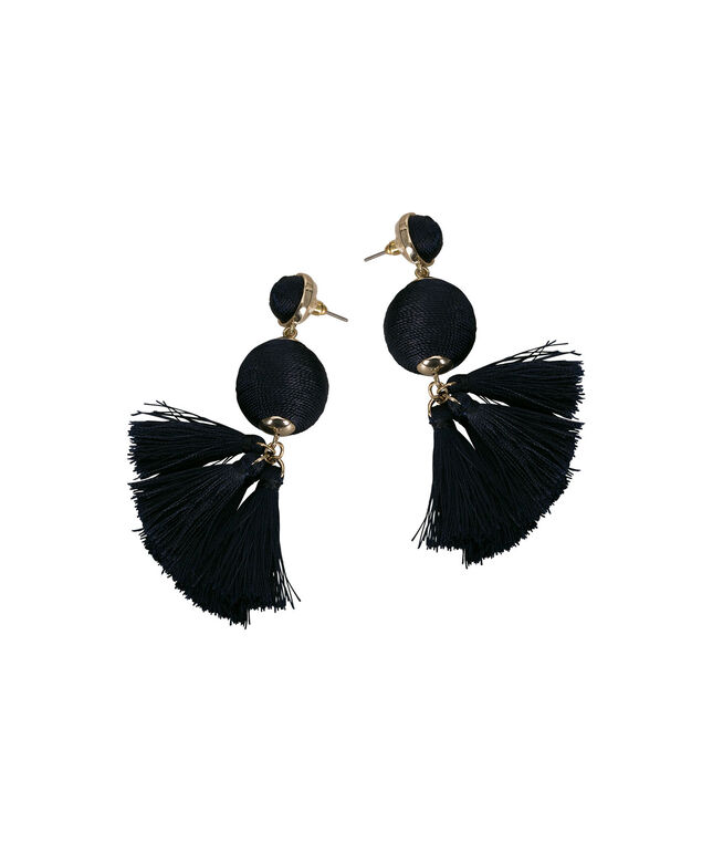 Thread-Wrapped Ball & Tassel Earring, Deep Sapphire/Gold, hi-res