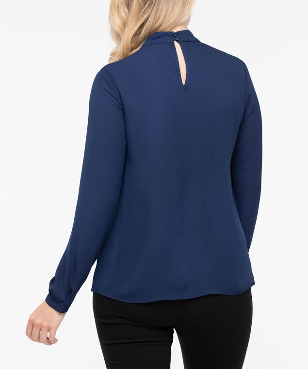 Long Sleeve Twisted Keyhole Blouse, Ink Blue, hi-res