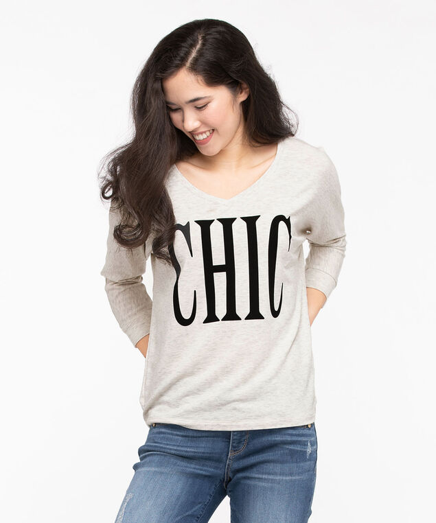 """Chic"" V-Neck Pullover Top, Ivory/Black, hi-res"