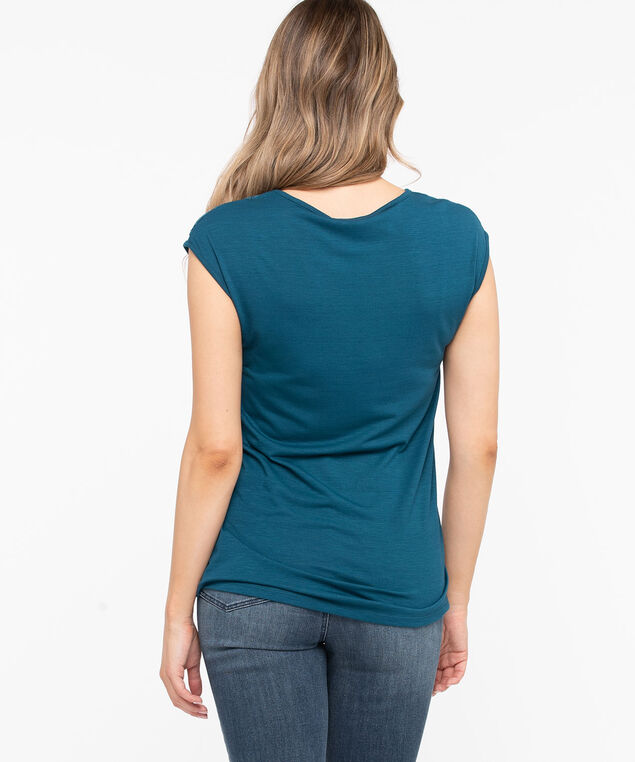 Lace Detail V-Neck Tee, Midnight Teal, hi-res