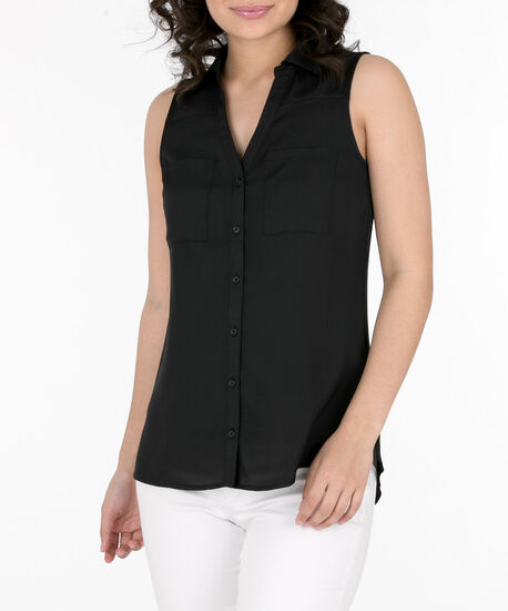 Sleeveless Button-Front Collared Shirt, Black, hi-res