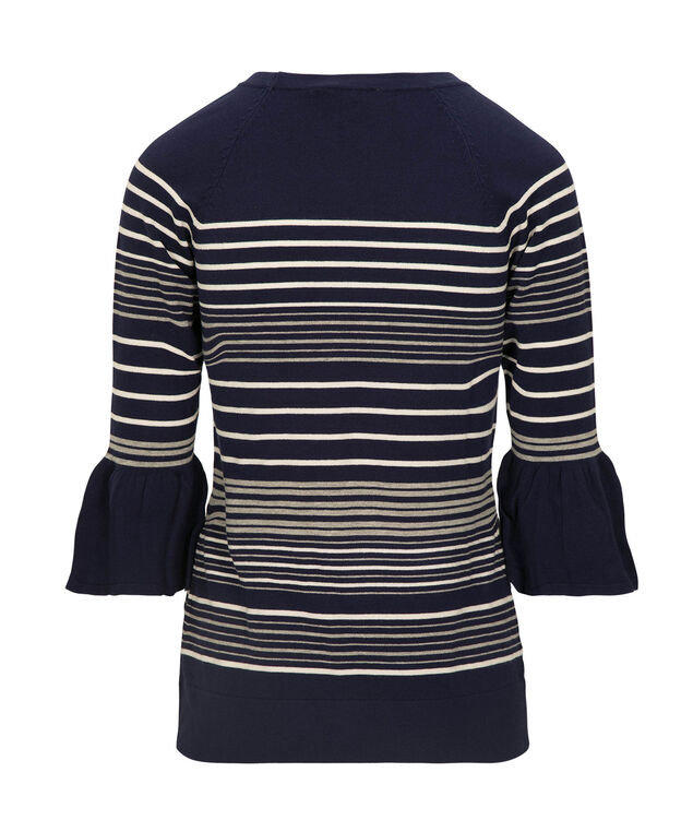 Striped Flounce Sleeve Pullover Sweater, Deep Sapphire/Grey/White, hi-res