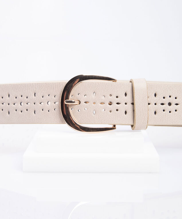 Perforated Pant Belt, Sand/Gold, hi-res
