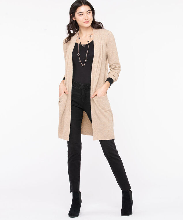 Soft Open Front Duster Cardigan, Almond Mix