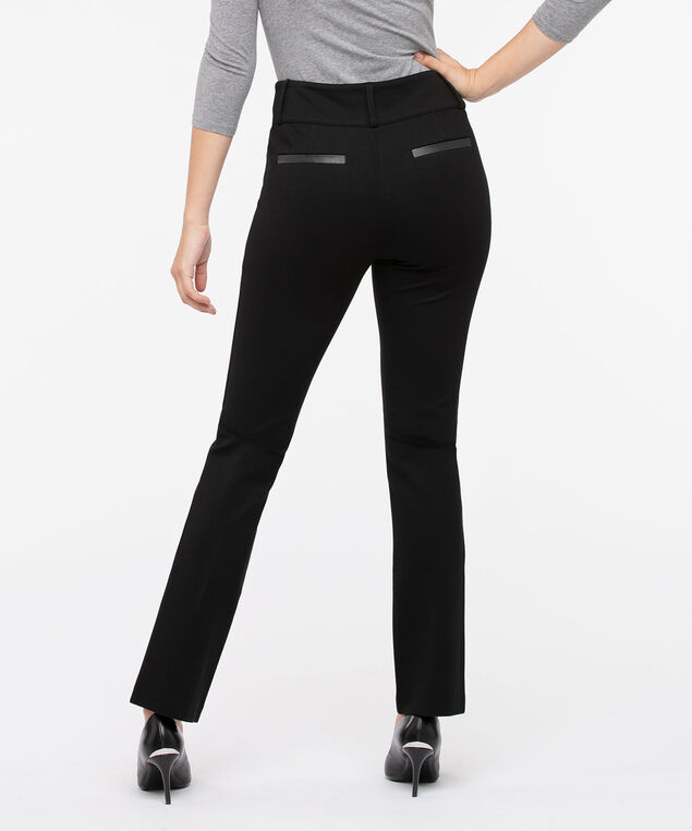 Luxe Ponte Fly Front Straight Leg Pant, Black, hi-res