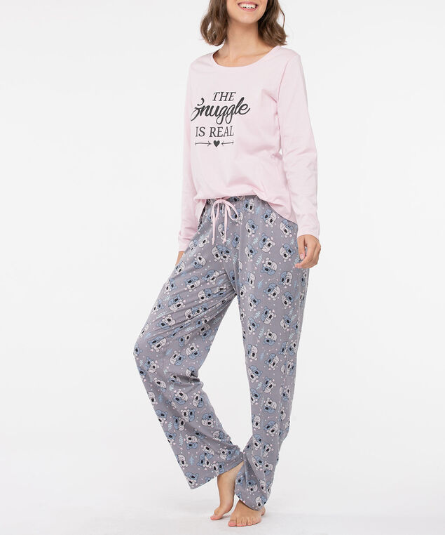 The Snuggle is Real Pajama Set, Petal Pink/Grey/Steel Blue, hi-res