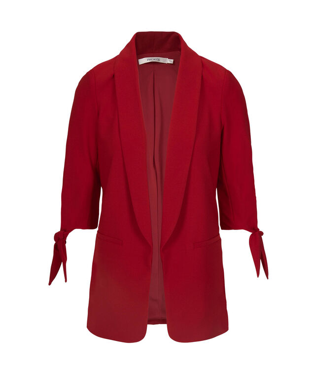 Tie-Sleeve Easy Stretch Blazer, Poppy, hi-res