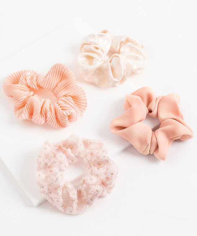 Pink Scrunchie 4-Pack, Ribbed Pink/Pink Daisy/White Leopard/Rib