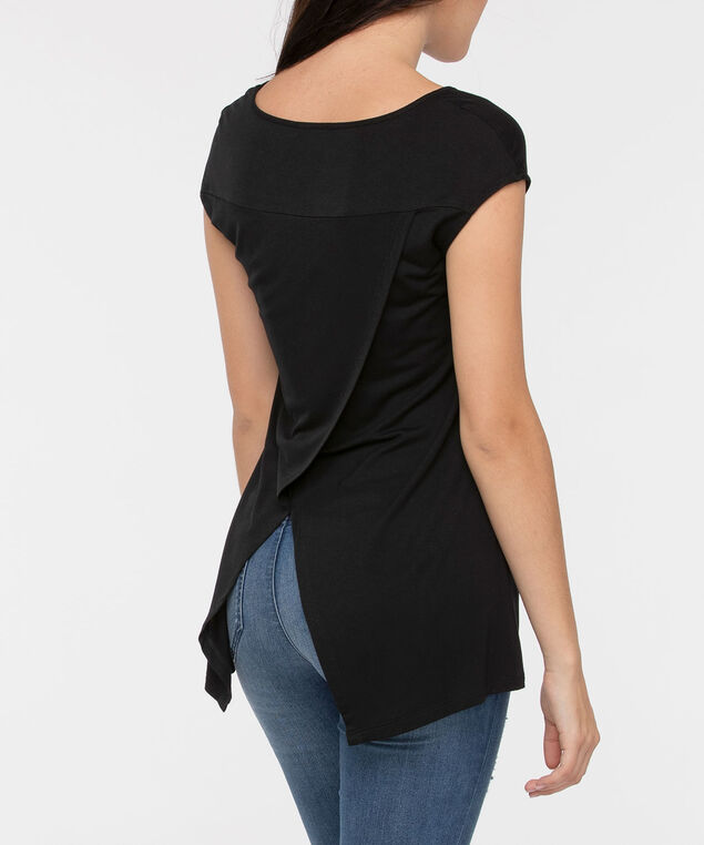 Flyaway Back Extended Sleeve Top, Black/White, hi-res