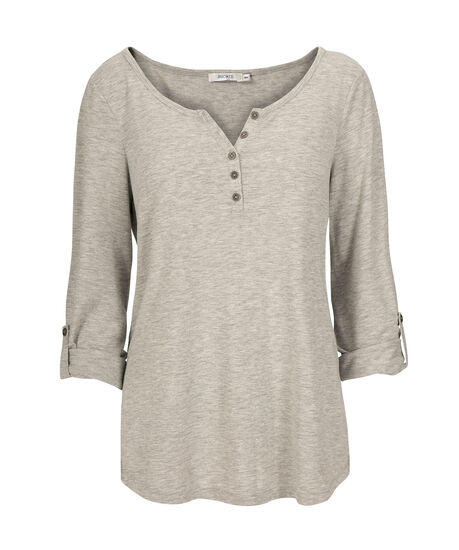 Roll Cuff Henley Top, Heather Grey, hi-res