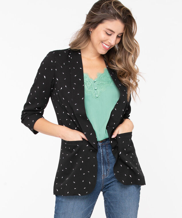 Easy Stretch Open Blazer, Black/Pearl, hi-res