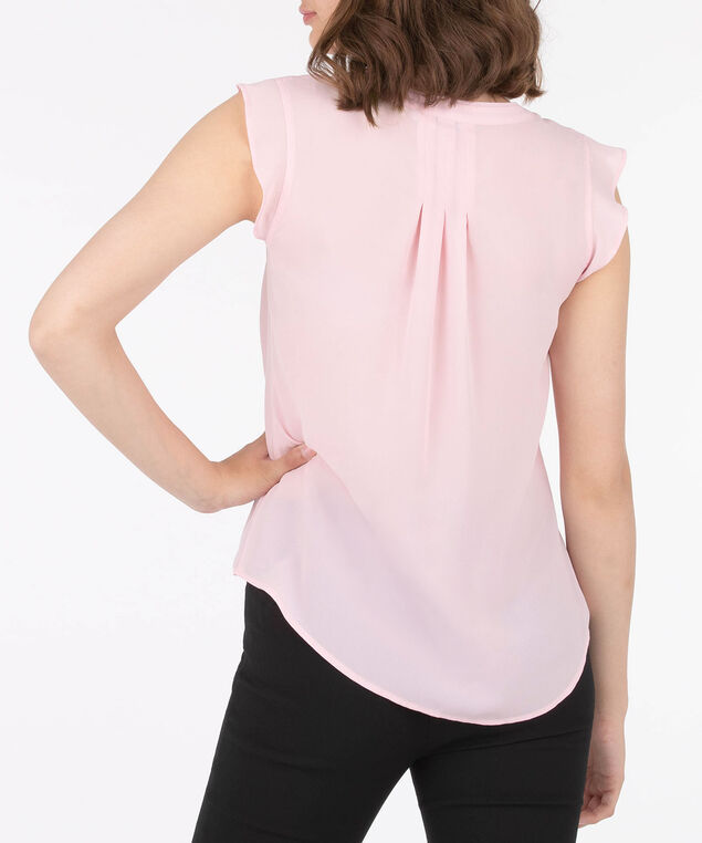 Flutter Sleeve Pleat Detail Blouse, Cameo Pink, hi-res
