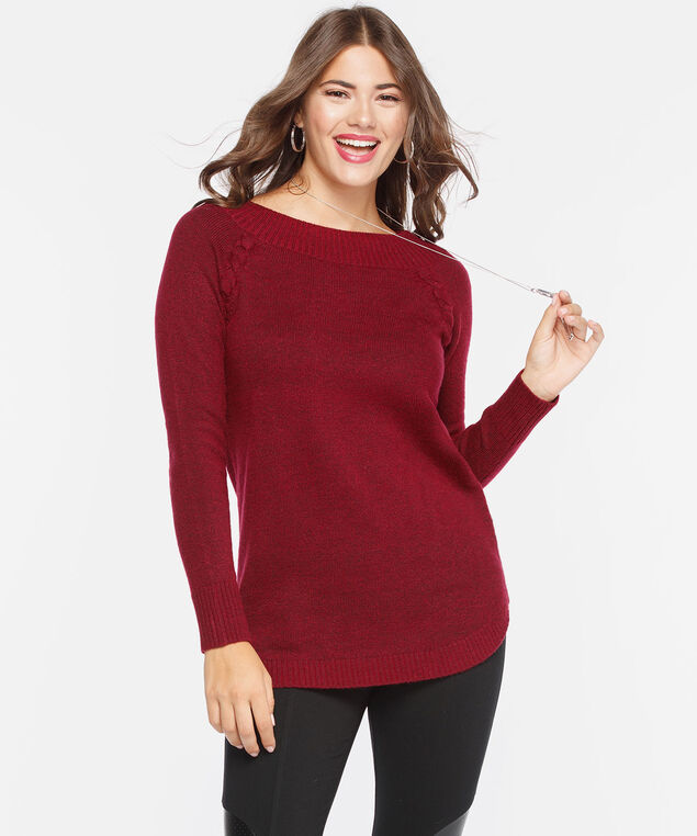 Lace Up Detail Boatneck Sweater, Crimson, hi-res