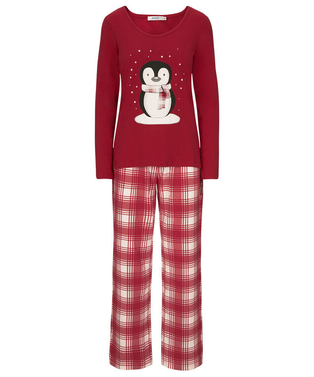Penguin Pajama Set, Cherry/Milkshake, hi-res