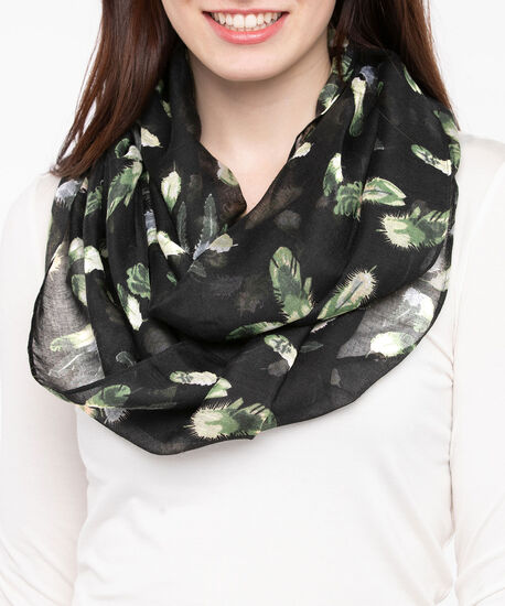 Feather Print Eternity Scarf, Autumn Olive/Camel/Steel Blue, hi-res