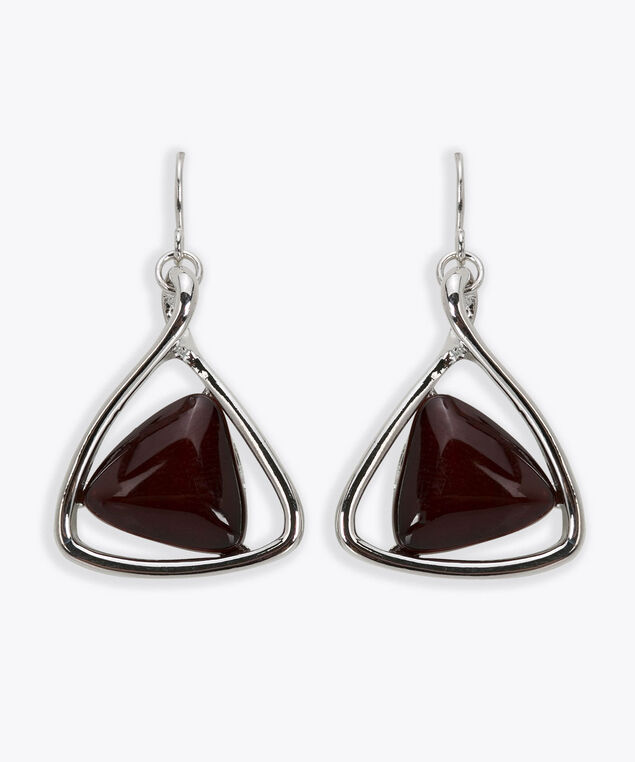 Cateye Triangle Earring, Rhodium/Dark Rust, hi-res