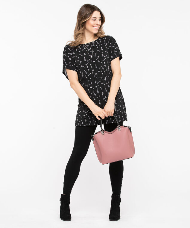 Dolman Sleeve Tunic Top, Black/Pearl, hi-res
