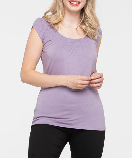 Smocked Neck Extended Sleeve Tee, Mauve, hi-res