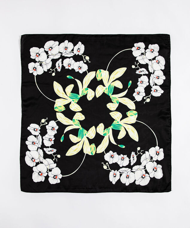 Black & White Floral Scarf, Black/White/Green